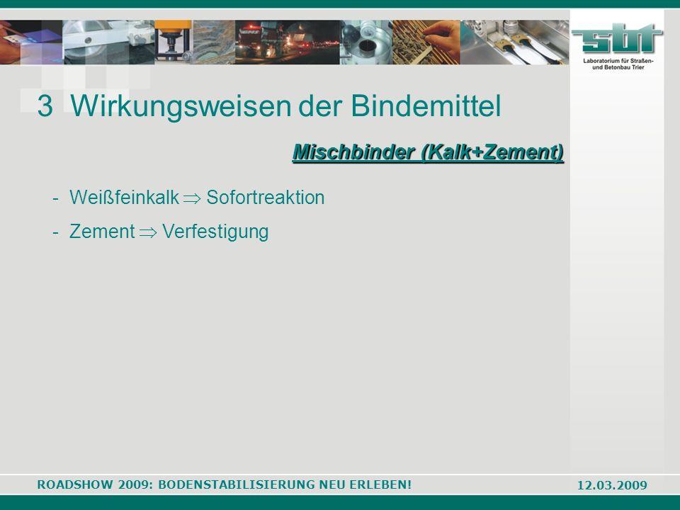 ROADSHOW 2009: BODENSTABILISIERUNG NEU ERLEBEN! 12.03.2009 3 Wirkungsweisen der Bindemittel Mischbinder (Kalk+Zement) - Weißfeinkalk Sofortreaktion -