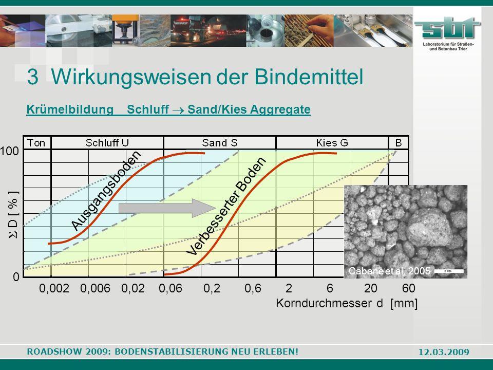 ROADSHOW 2009: BODENSTABILISIERUNG NEU ERLEBEN! 12.03.2009 3 Wirkungsweisen der Bindemittel 0,002 0,006 0,02 0,06 0,2 0,6 2 6 20 60 Korndurchmesser d
