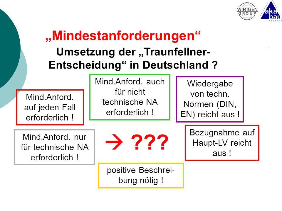 Mindestanforderungen Umsetzung der Traunfellner- Entscheidung in Deutschland ? Mind.Anford. auf jeden Fall erforderlich ! Mind.Anford. nur für technis