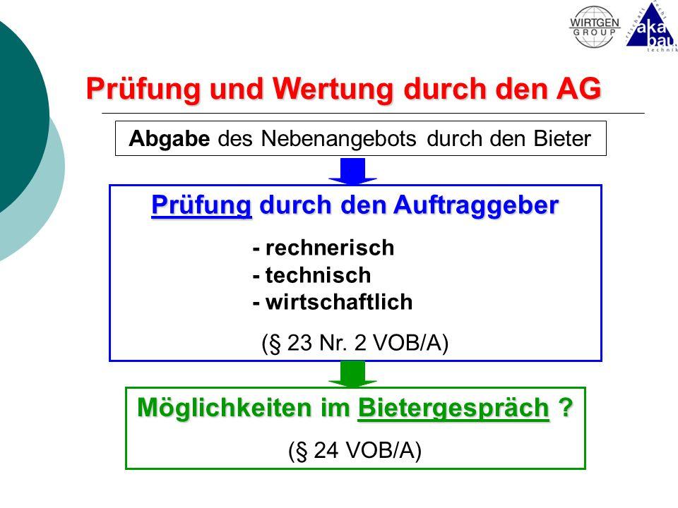Prüfung und Wertung durch den AG Abgabe des Nebenangebots durch den Bieter Prüfung durch den Auftraggeber - rechnerisch - technisch - wirtschaftlich (
