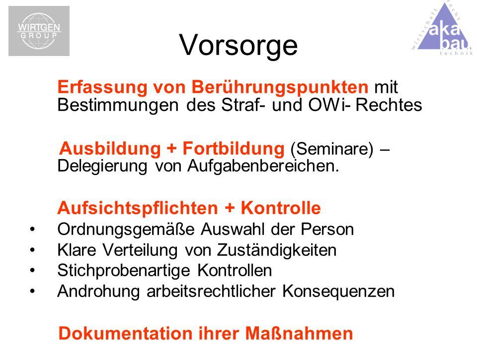 Vorsorge Erfassung von Berührungspunkten mit Bestimmungen des Straf- und OWi- Rechtes Ausbildung + Fortbildung (Seminare) – Delegierung von Aufgabenbe