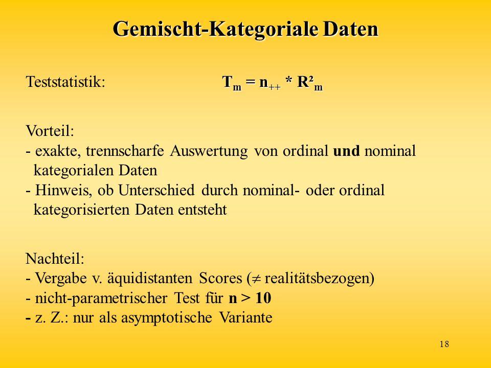 18 Gemischt-Kategoriale Daten T m = n ++ * R² m Teststatistik:T m = n ++ * R² m Vorteil: - exakte, trennscharfe Auswertung von ordinal und nominal kategorialen Daten - Hinweis, ob Unterschied durch nominal- oder ordinal kategorisierten Daten entsteht Nachteil: - Vergabe v.