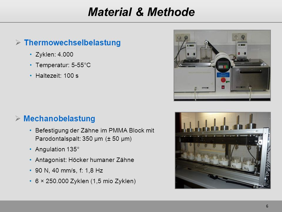6 Material & Methode Thermowechselbelastung Zyklen: 4.000 Temperatur: 5-55°C Haltezeit: 100 s Mechanobelastung Befestigung der Zähne im PMMA Block mit