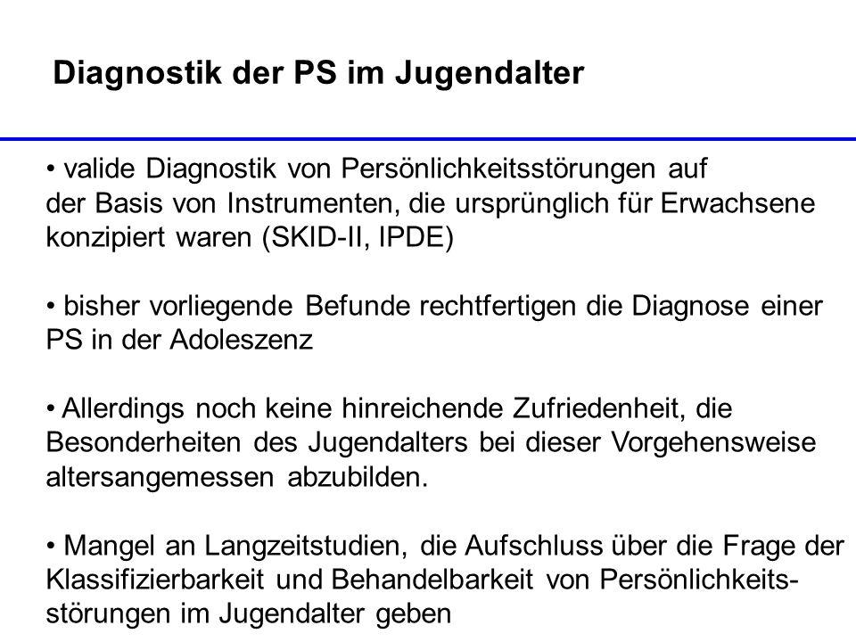 Diagnostik der PS im Jugendalter valide Diagnostik von Persönlichkeitsstörungen auf der Basis von Instrumenten, die ursprünglich für Erwachsene konzip