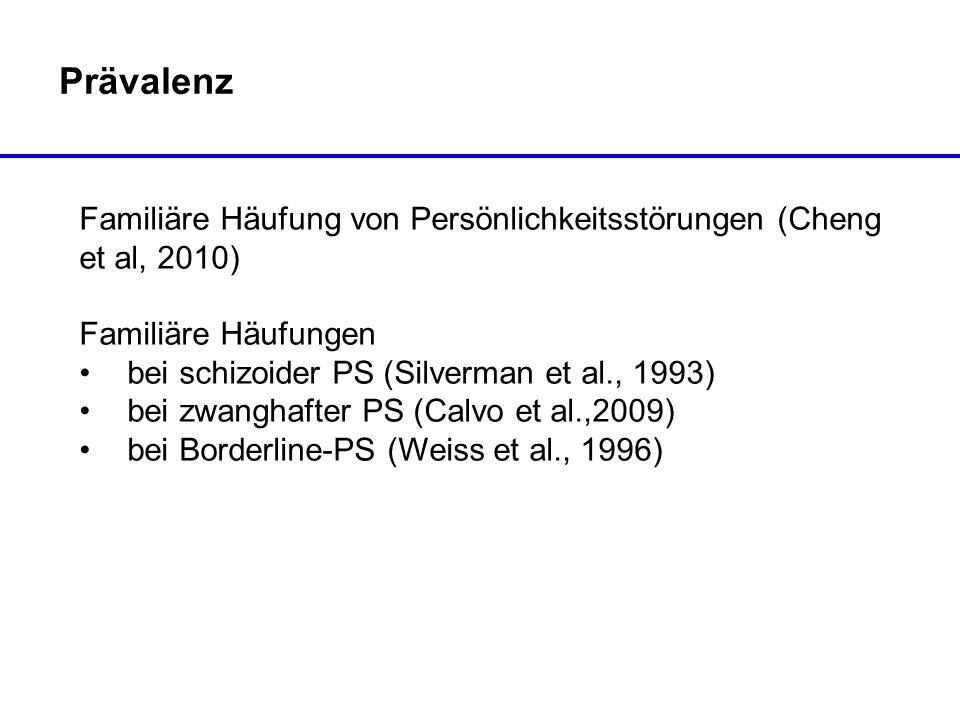 Prävalenz Familiäre Häufung von Persönlichkeitsstörungen (Cheng et al, 2010) Familiäre Häufungen bei schizoider PS (Silverman et al., 1993) bei zwangh