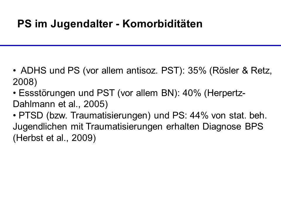 PS im Jugendalter - Komorbiditäten ADHS und PS (vor allem antisoz. PST): 35% (Rösler & Retz, 2008) Essstörungen und PST (vor allem BN): 40% (Herpertz-
