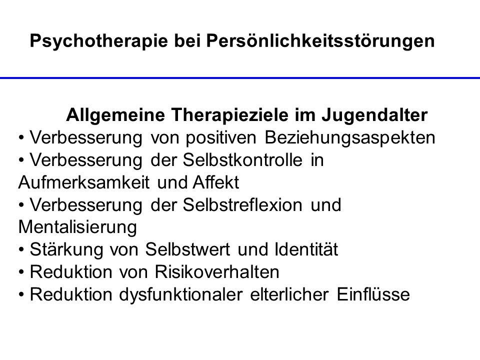 Psychotherapie bei Persönlichkeitsstörungen Allgemeine Therapieziele im Jugendalter Verbesserung von positiven Beziehungsaspekten Verbesserung der Sel