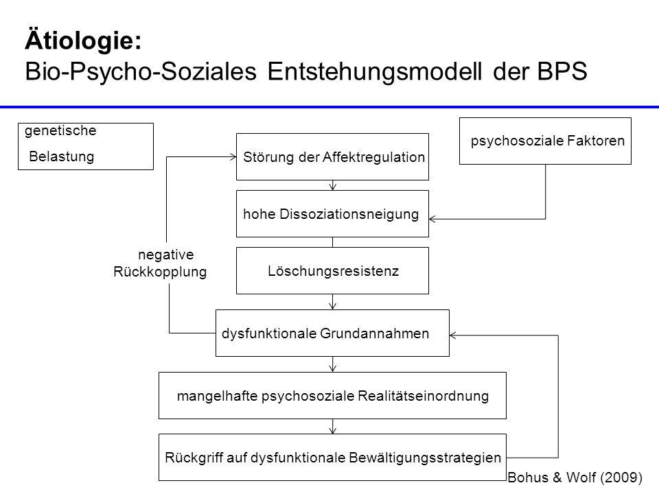Ätiologie: Bio-Psycho-Soziales Entstehungsmodell der BPS genetische Belastung psychosoziale Faktoren Störung der Affektregulation hohe Dissoziationsne