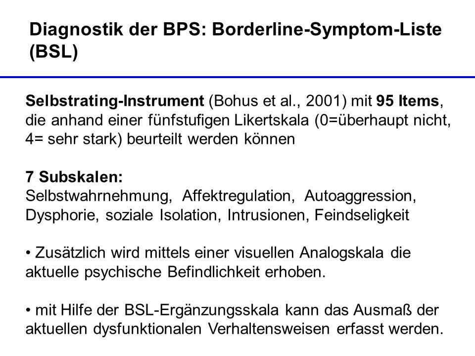 Diagnostik der BPS: Borderline-Symptom-Liste (BSL) Selbstrating-Instrument (Bohus et al., 2001) mit 95 Items, die anhand einer fünfstufigen Likertskal
