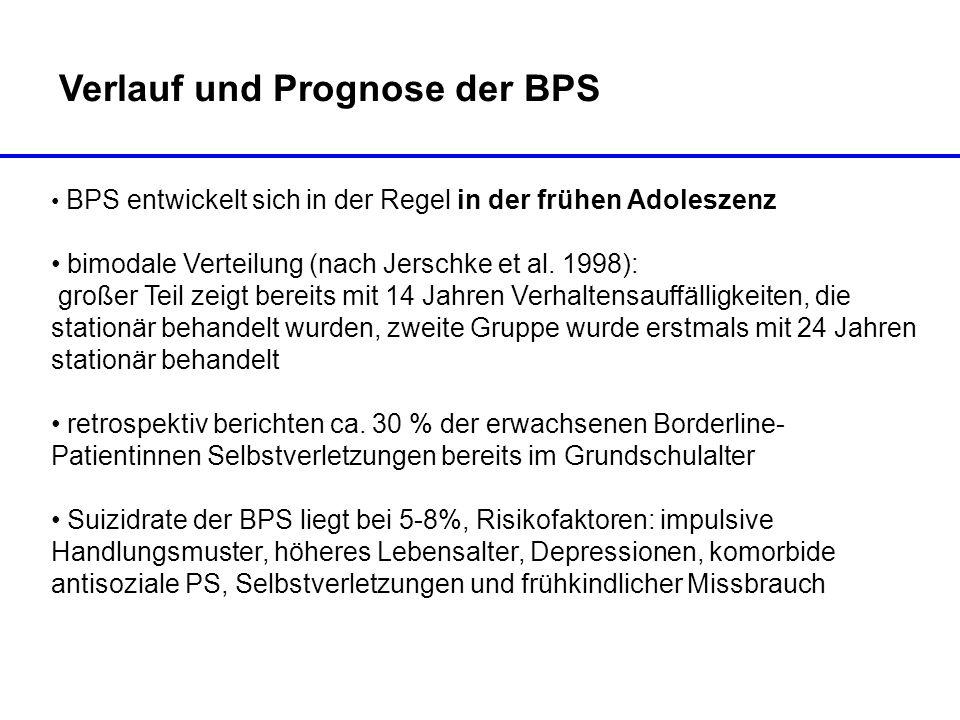 Verlauf und Prognose der BPS BPS entwickelt sich in der Regel in der frühen Adoleszenz bimodale Verteilung (nach Jerschke et al. 1998): großer Teil ze