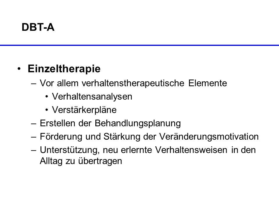 DBT-A Einzeltherapie –Vor allem verhaltenstherapeutische Elemente Verhaltensanalysen Verstärkerpläne –Erstellen der Behandlungsplanung –Förderung und