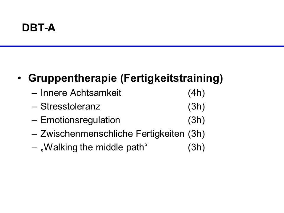 DBT-A Gruppentherapie (Fertigkeitstraining) –Innere Achtsamkeit (4h) –Stresstoleranz(3h) –Emotionsregulation(3h) –Zwischenmenschliche Fertigkeiten(3h)