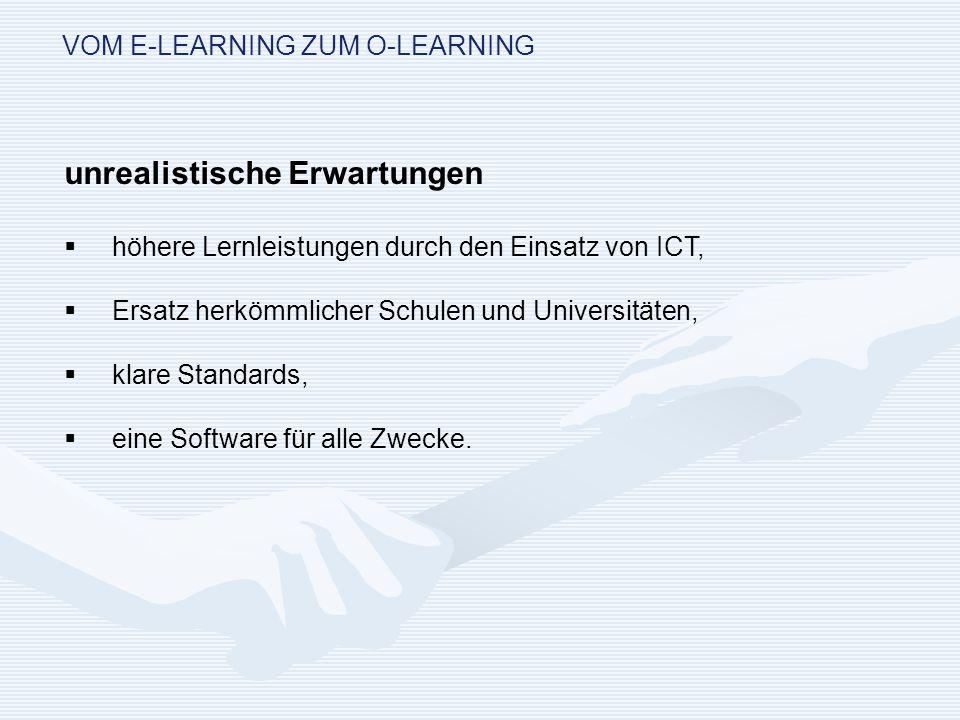 VOM E-LEARNING ZUM O-LEARNING Ziele für die interne Organisationsentwicklung: Den organisationalen Wandel zur Nutzung der IuK-Technologien in der akademischen Bildung zu schaffen und die anderen Bereiche zu befördern; Verzahnung mit Prozessen der Personalentwicklung (auch der eigenen) zu gewährleisten.