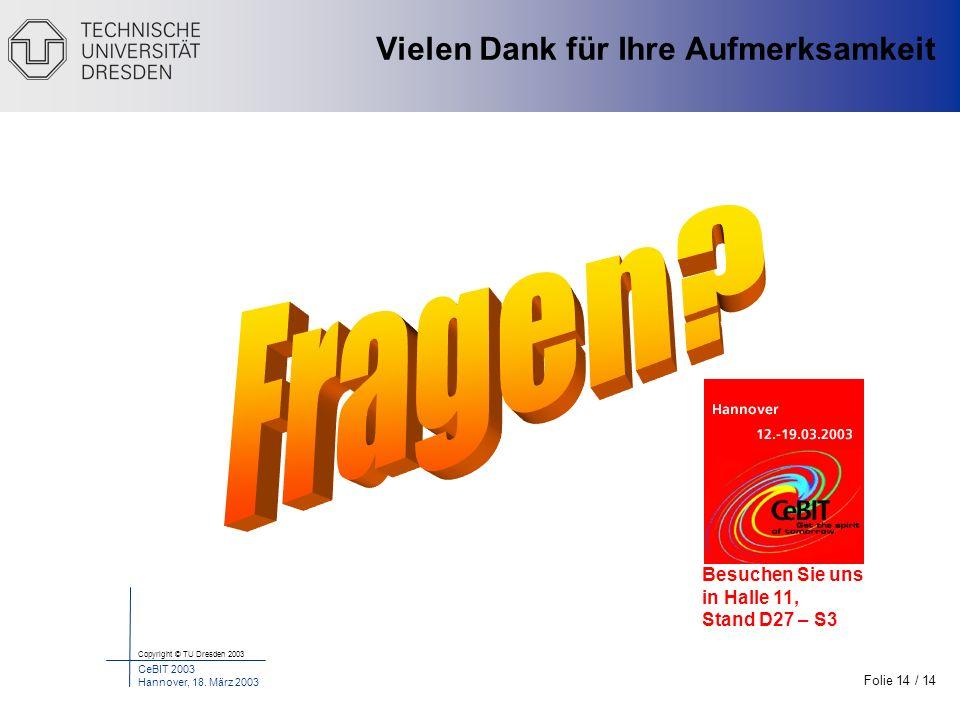 Folie 14 / 14 Copyright © TU Dresden 2003 CeBIT 2003 Hannover, 18. März 2003 Motivation Stand der Technik Probleme Unsere Lösung Inhalt Ergebnisse Met