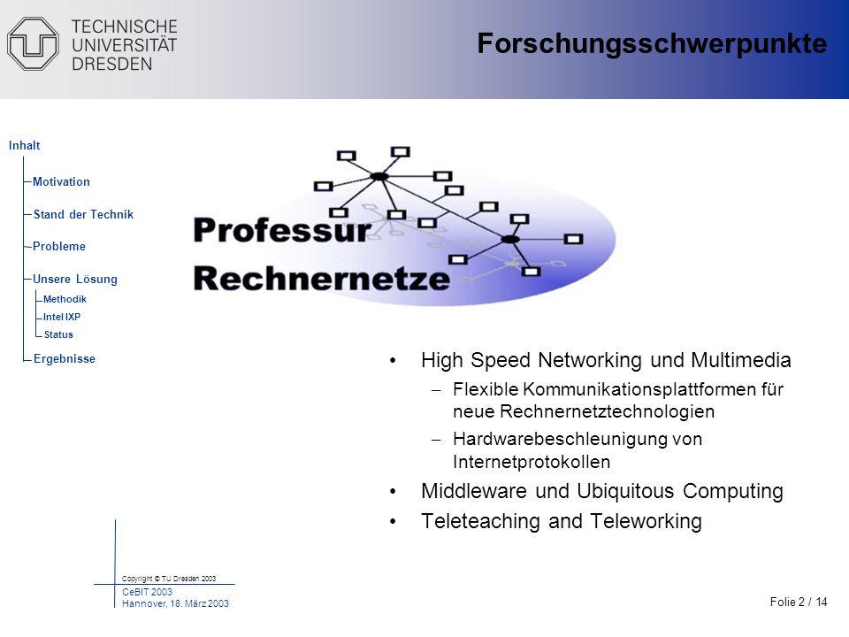 Folie 2 / 14 Copyright © TU Dresden 2003 CeBIT 2003 Hannover, 18. März 2003 Motivation Stand der Technik Probleme Unsere Lösung Inhalt Ergebnisse Meth