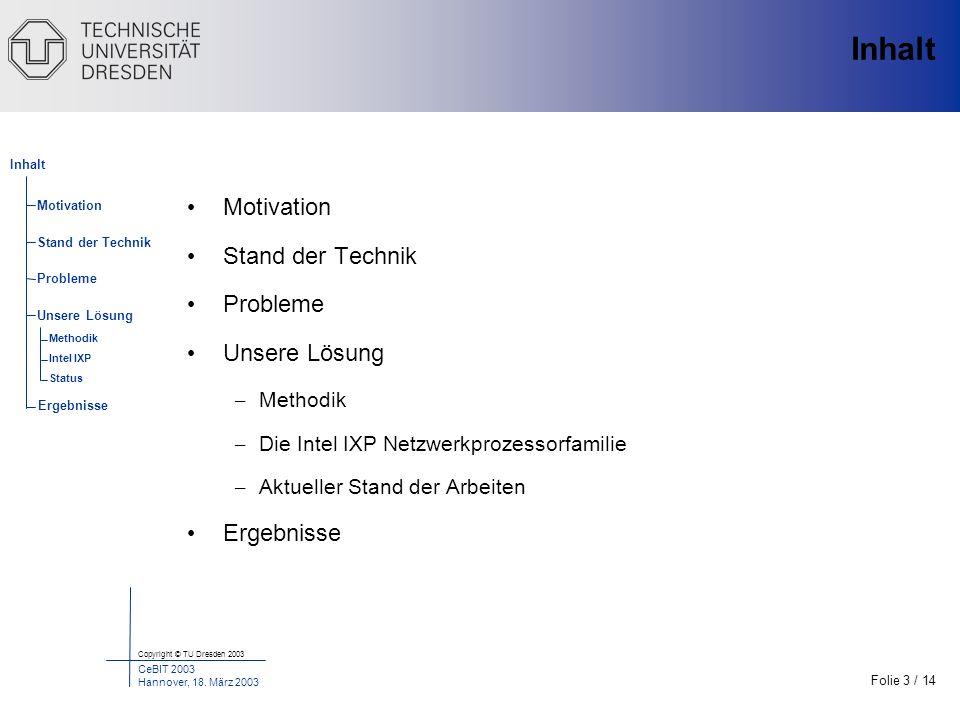 Folie 3 / 14 Copyright © TU Dresden 2003 CeBIT 2003 Hannover, 18. März 2003 Motivation Stand der Technik Probleme Unsere Lösung Inhalt Ergebnisse Meth