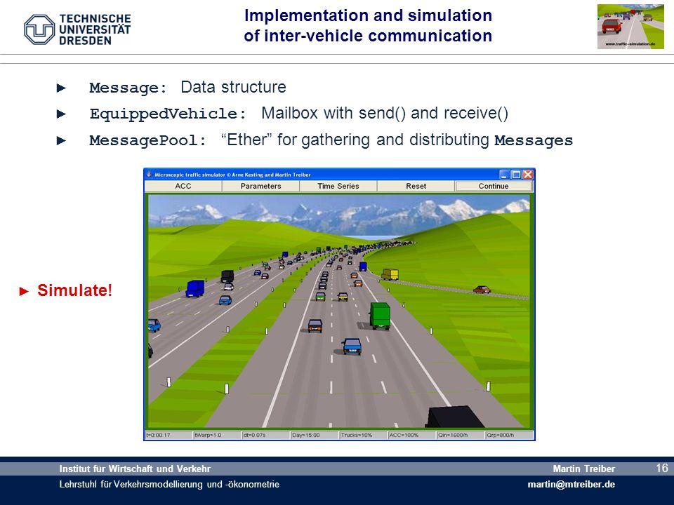 16 Institut für Wirtschaft und Verkehr Lehrstuhl für Verkehrsmodellierung und -ökonometrie Martin Treiber martin@mtreiber.de 16 Implementation and sim