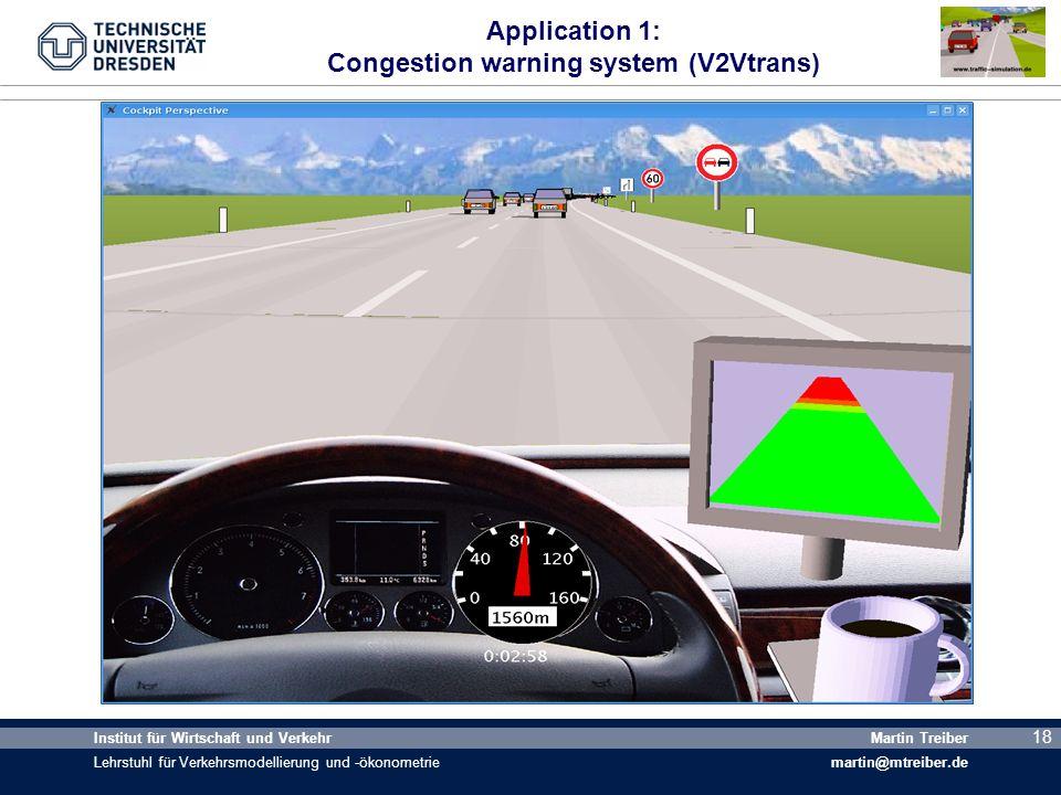 18 Institut für Wirtschaft und Verkehr Lehrstuhl für Verkehrsmodellierung und -ökonometrie Martin Treiber martin@mtreiber.de 18 Application 1: Congest