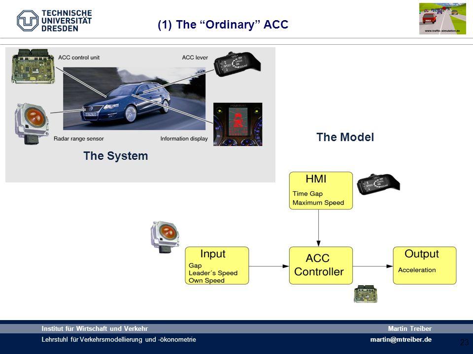 23 Institut für Wirtschaft und Verkehr Lehrstuhl für Verkehrsmodellierung und -ökonometrie Martin Treiber martin@mtreiber.de (1) The Ordinary ACC 23 T