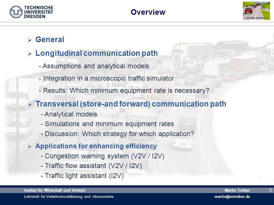 4 Institut für Wirtschaft und Verkehr Lehrstuhl für Verkehrsmodellierung und -ökonometrie Martin Treiber martin@mtreiber.de 4 Transmission Strategy: V2Vlong, V2Vtrans, V2I, and I2V