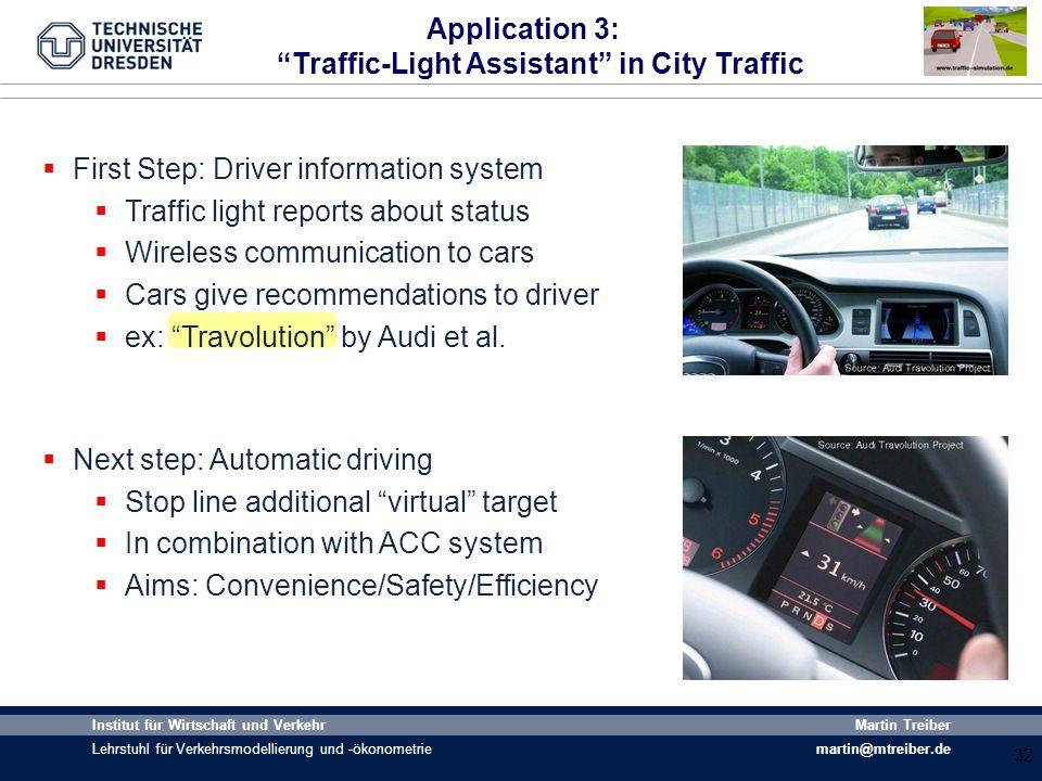 32 Institut für Wirtschaft und Verkehr Lehrstuhl für Verkehrsmodellierung und -ökonometrie Martin Treiber martin@mtreiber.de Application 3: Traffic-Li