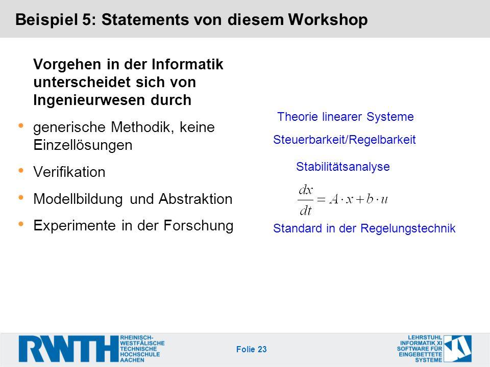 Folie 23 Beispiel 5: Statements von diesem Workshop Vorgehen in der Informatik unterscheidet sich von Ingenieurwesen durch generische Methodik, keine