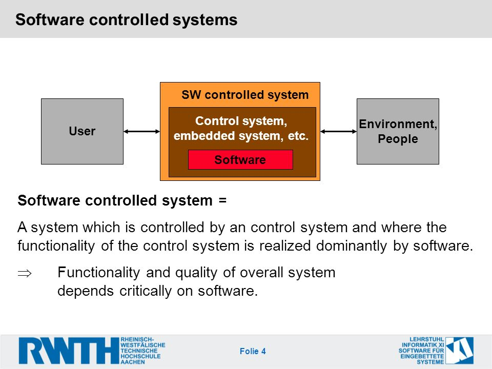 Folie 4 Software controlled systems User Environment, People SW controlled system Software controlled system = A system which is controlled by an control system and where the functionality of the control system is realized dominantly by software.