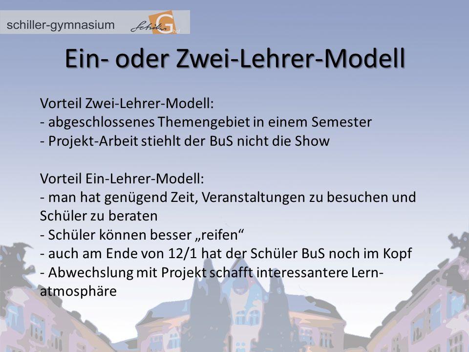 Ein- oder Zwei-Lehrer-Modell Vorteil Zwei-Lehrer-Modell: - abgeschlossenes Themengebiet in einem Semester - Projekt-Arbeit stiehlt der BuS nicht die S