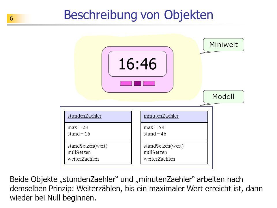 17 Idee: Objekt als Programmeinheit Ein Objekt (eine Klasse) ist eine Einheit (Modul), bei dem Daten und die hierauf anzuwendenden Operationen gemeinsam verwaltet werden.