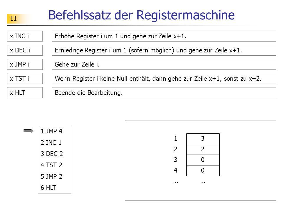 11 Befehlssatz der Registermaschine x INC iErhöhe Register i um 1 und gehe zur Zeile x+1.