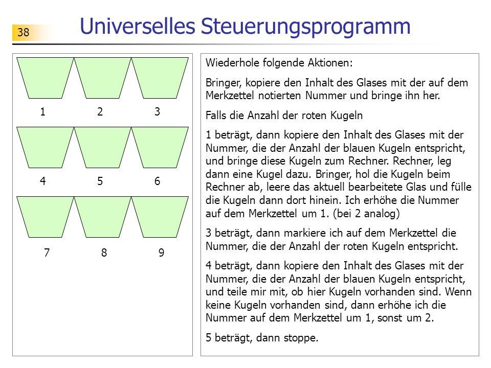 38 Universelles Steuerungsprogramm Wiederhole folgende Aktionen: Bringer, kopiere den Inhalt des Glases mit der auf dem Merkzettel notierten Nummer und bringe ihn her.
