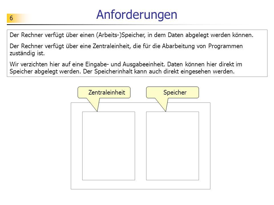 6 Anforderungen Der Rechner verfügt über einen (Arbeits-)Speicher, in dem Daten abgelegt werden können.