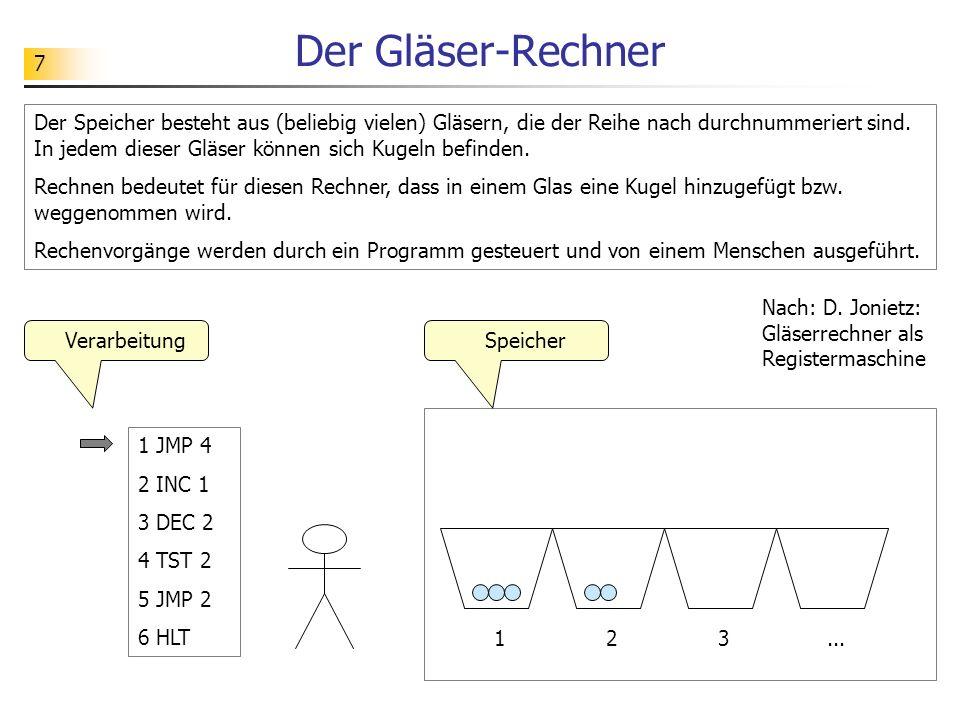 8 Die Befehle des Gläser-Rechners Die Bedeutung der Befehle: JMP 4: Springe zum Befehl in Zeile 4.