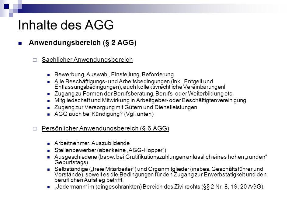 Inhalte des AGG Anwendungsbereich (§ 2 AGG) Sachlicher Anwendungsbereich Bewerbung, Auswahl, Einstellung, Beförderung Alle Beschäftigungs- und Arbeits