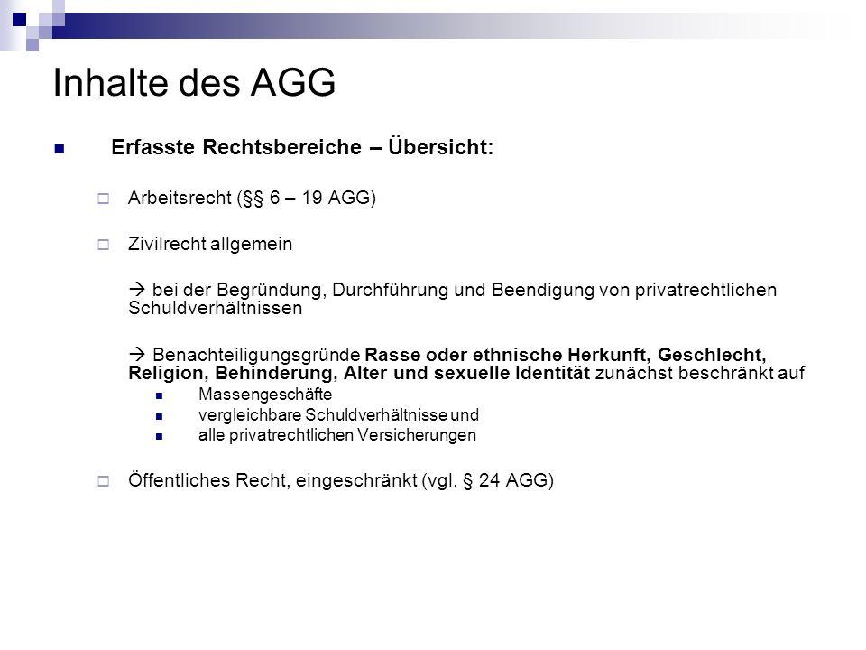Inhalte des AGG Erfasste Rechtsbereiche – Übersicht: Arbeitsrecht (§§ 6 – 19 AGG) Zivilrecht allgemein bei der Begründung, Durchführung und Beendigung