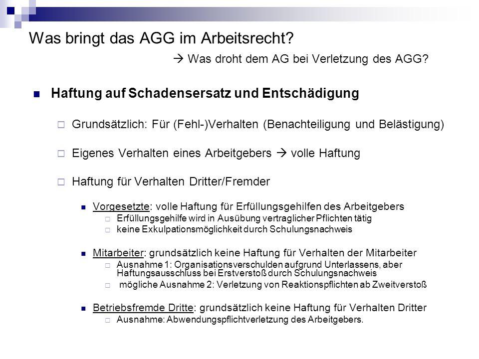 Was bringt das AGG im Arbeitsrecht? Was droht dem AG bei Verletzung des AGG? Haftung auf Schadensersatz und Entschädigung Grundsätzlich: Für (Fehl-)Ve
