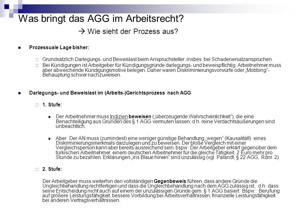 Was bringt das AGG im Arbeitsrecht? Wie sieht der Prozess aus? Prozessuale Lage bisher: Grundsätzlich Darlegungs- und Beweislast beim Anspruchsteller,
