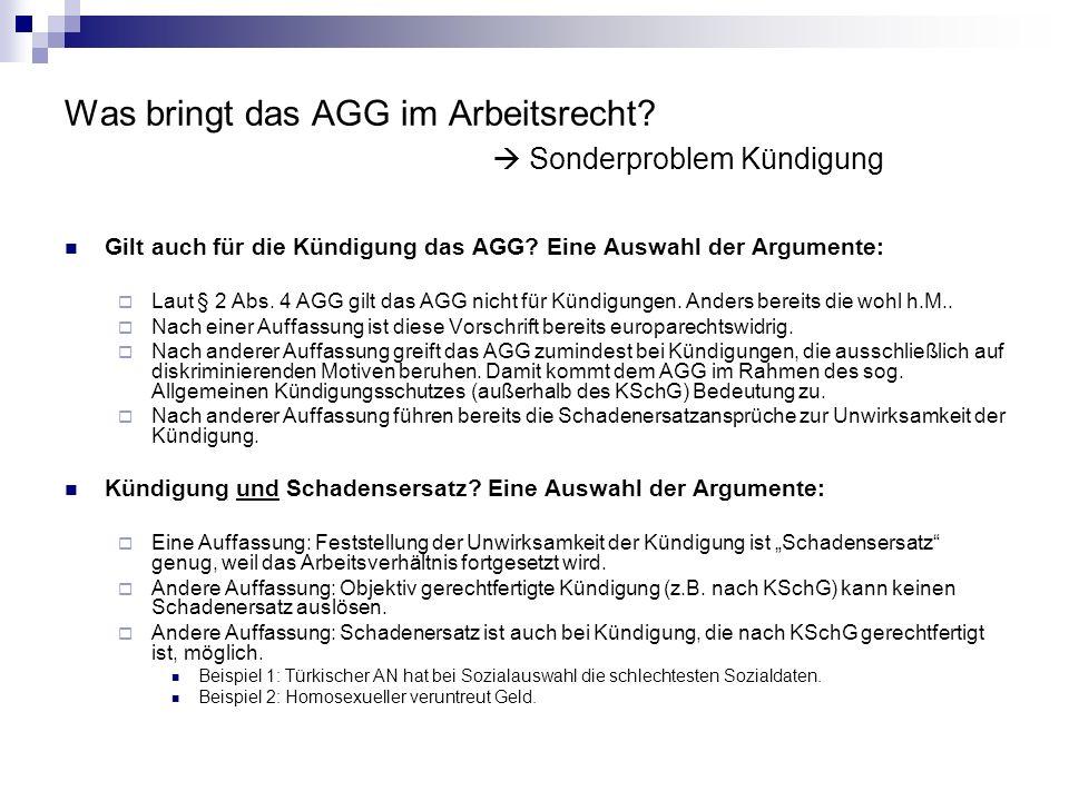 Was bringt das AGG im Arbeitsrecht? Sonderproblem Kündigung Gilt auch für die Kündigung das AGG? Eine Auswahl der Argumente: Laut § 2 Abs. 4 AGG gilt