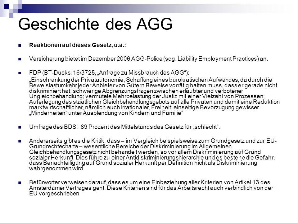 Geschichte des AGG Reaktionen auf dieses Gesetz, u.a.: Versicherung bietet im Dezember 2006 AGG-Police (sog. Liability Employment Practices) an. FDP (