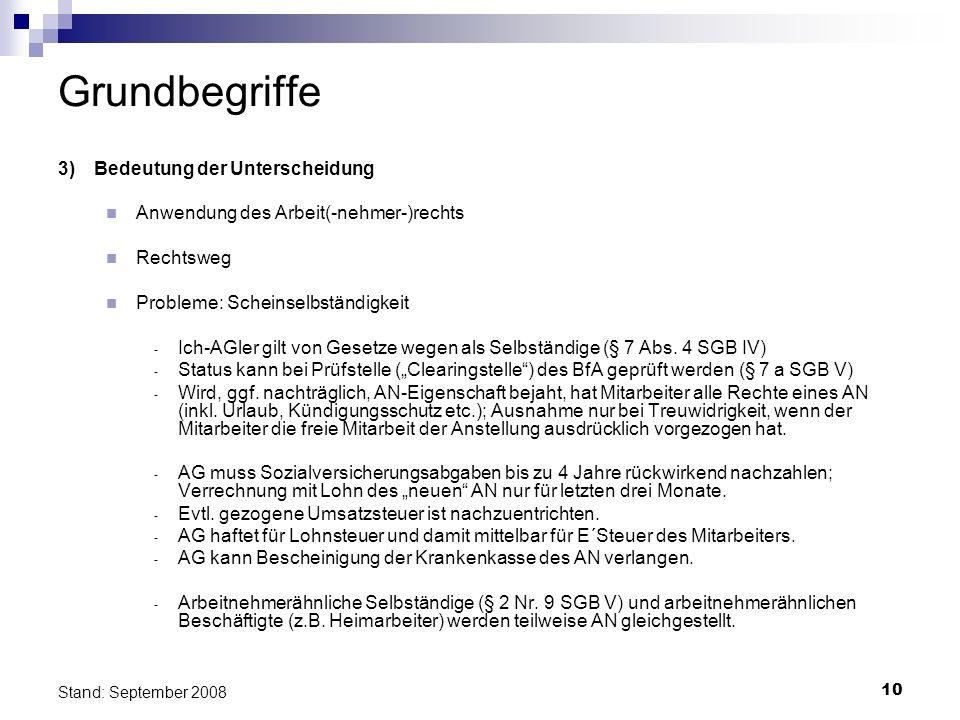 10 Stand: September 2008 Grundbegriffe 3)Bedeutung der Unterscheidung Anwendung des Arbeit(-nehmer-)rechts Rechtsweg Probleme: Scheinselbständigkeit -