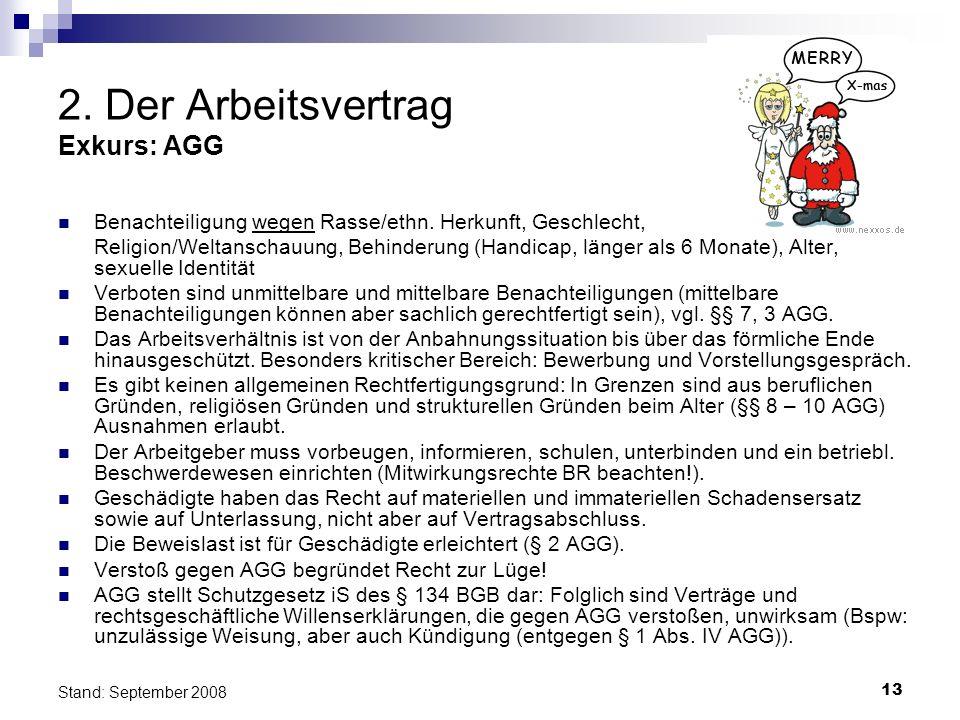 13 Stand: September 2008 2. Der Arbeitsvertrag Exkurs: AGG Benachteiligung wegen Rasse/ethn. Herkunft, Geschlecht, Religion/Weltanschauung, Behinderun