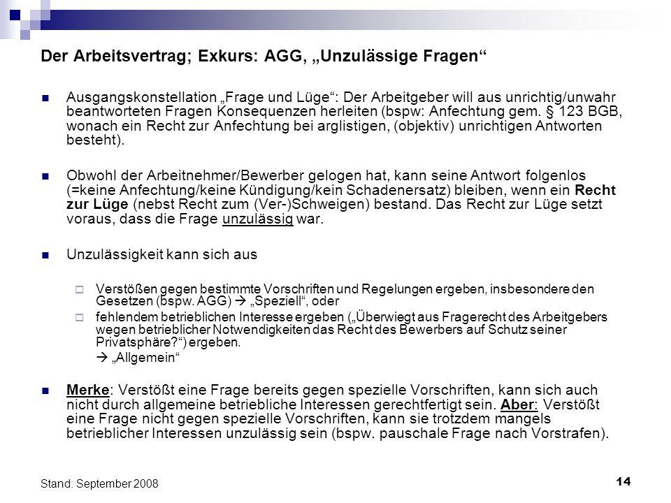 14 Stand: September 2008 Der Arbeitsvertrag; Exkurs: AGG, Unzulässige Fragen Ausgangskonstellation Frage und Lüge: Der Arbeitgeber will aus unrichtig/