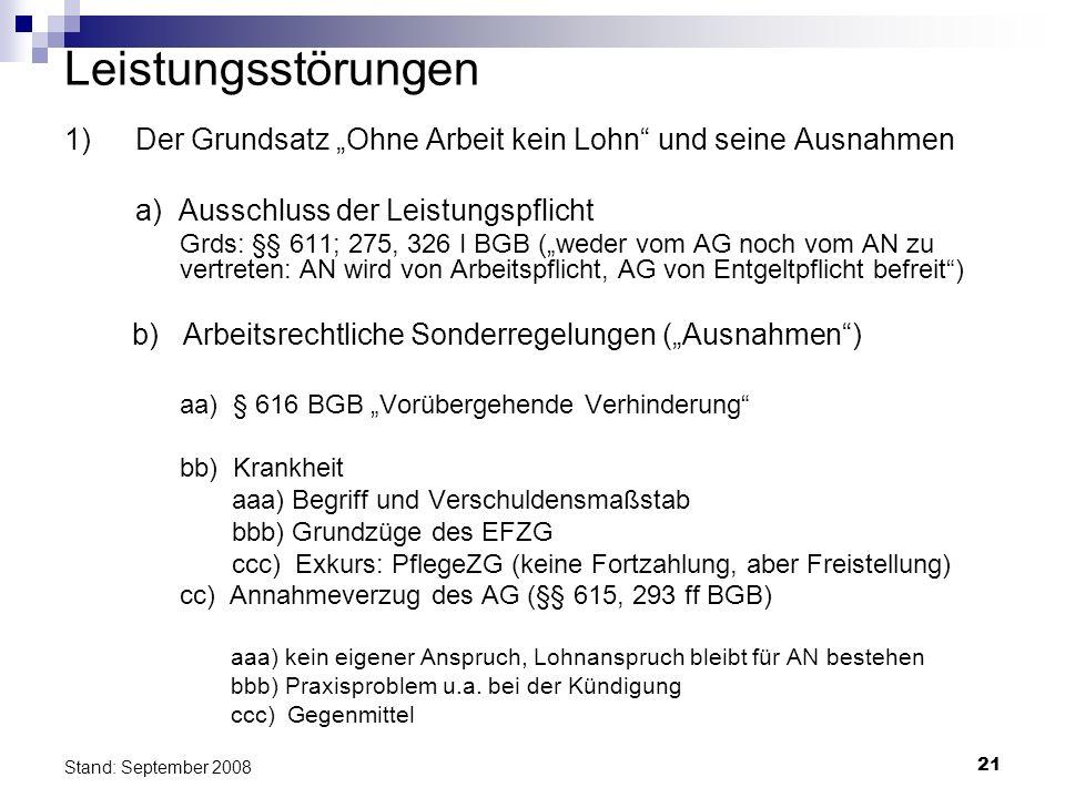21 Stand: September 2008 Leistungsstörungen 1) Der Grundsatz Ohne Arbeit kein Lohn und seine Ausnahmen a) Ausschluss der Leistungspflicht Grds: §§ 611