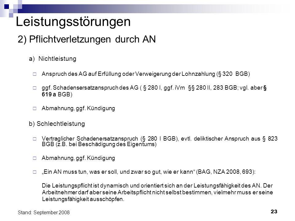 23 Stand: September 2008 Leistungsstörungen 2) Pflichtverletzungen durch AN a) Nichtleistung Anspruch des AG auf Erfüllung oder Verweigerung der Lohnz