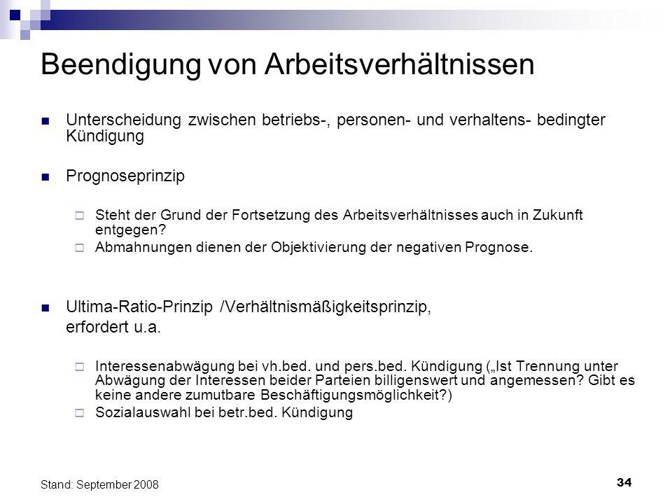 34 Stand: September 2008 Beendigung von Arbeitsverhältnissen Unterscheidung zwischen betriebs-, personen- und verhaltens- bedingter Kündigung Prognose