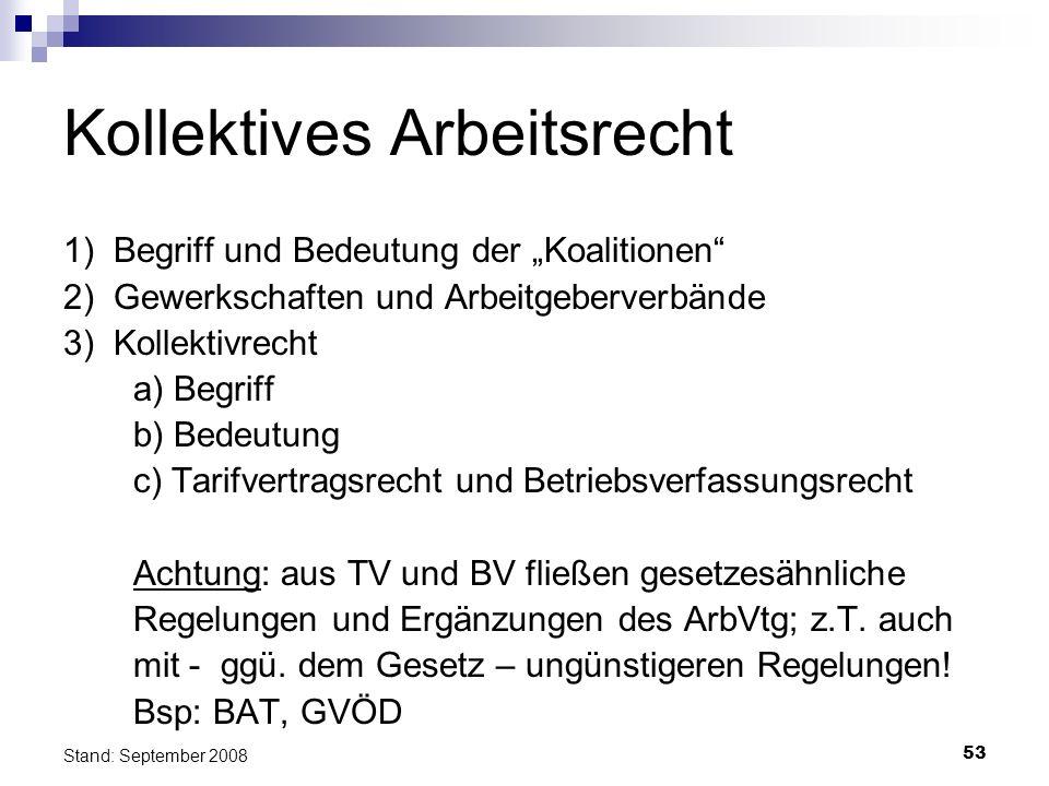 53 Stand: September 2008 Kollektives Arbeitsrecht 1) Begriff und Bedeutung der Koalitionen 2) Gewerkschaften und Arbeitgeberverbände 3) Kollektivrecht