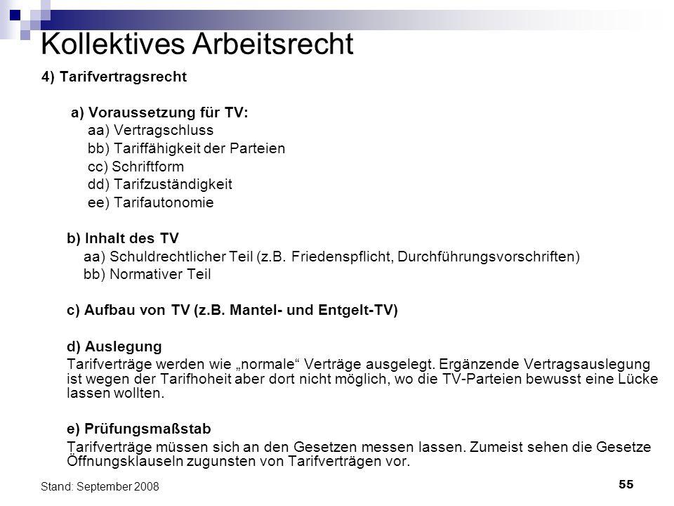 55 Stand: September 2008 Kollektives Arbeitsrecht 4) Tarifvertragsrecht a) Voraussetzung für TV: aa) Vertragschluss bb) Tariffähigkeit der Parteien cc