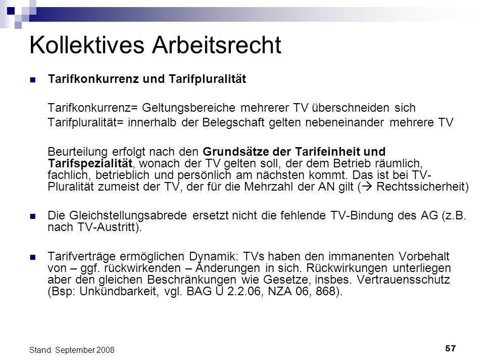 57 Stand: September 2008 Kollektives Arbeitsrecht Tarifkonkurrenz und Tarifpluralität Tarifkonkurrenz= Geltungsbereiche mehrerer TV überschneiden sich