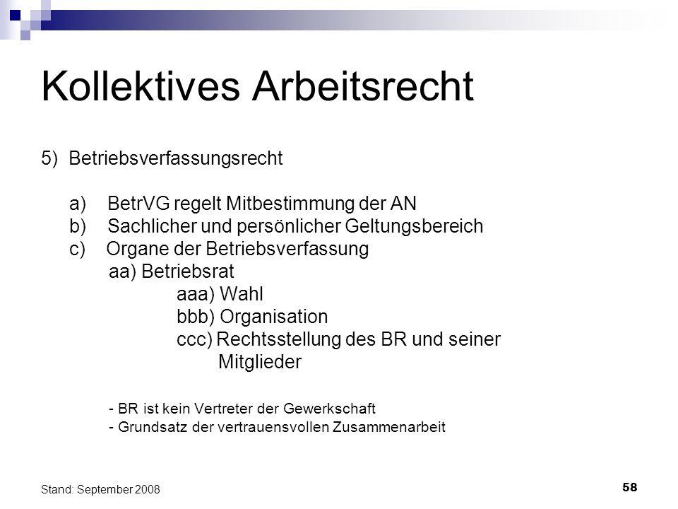 58 Stand: September 2008 Kollektives Arbeitsrecht 5) Betriebsverfassungsrecht a) BetrVG regelt Mitbestimmung der AN b) Sachlicher und persönlicher Gel