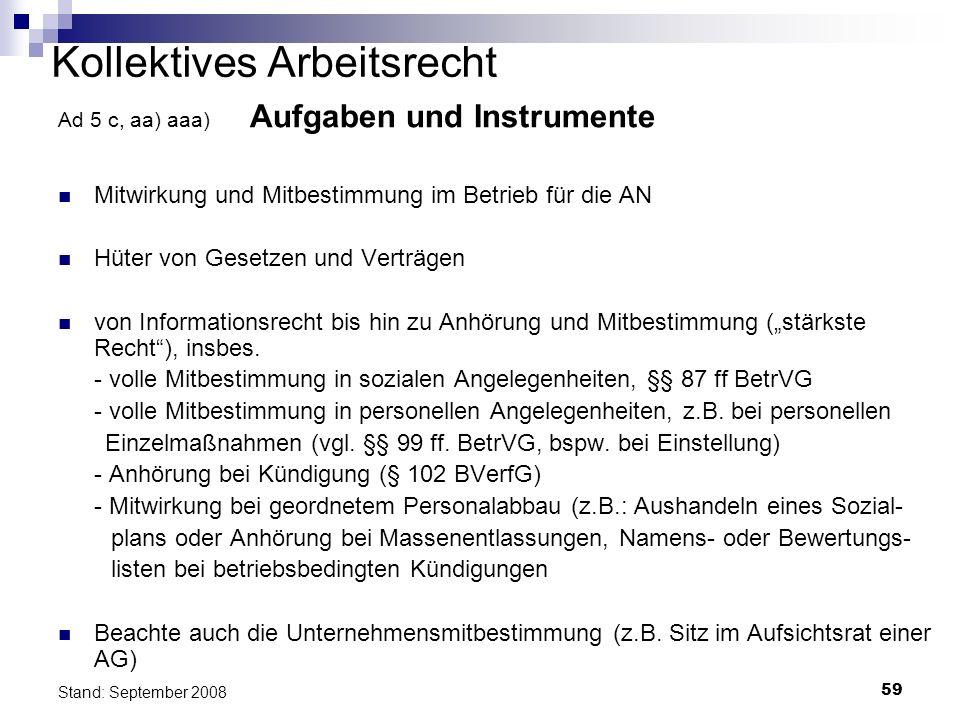 59 Stand: September 2008 Kollektives Arbeitsrecht Ad 5 c, aa) aaa) Aufgaben und Instrumente Mitwirkung und Mitbestimmung im Betrieb für die AN Hüter v